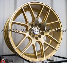 17X9 F1R F18 WHEEL 5x100/114.3 +25MM MACHINE GOLD RIM FITS SUBARU IMPREZA WRX