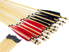 12pcs 80cm Wooden Arrows 6 black and 6 red Turkey Feather F Outdoor Hunting