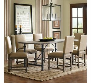 """Wells Dining Table with Metal Legs Gray Finish 6 seater 30.5"""" x 72"""" (BR7)"""