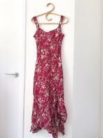 PER UNA Size 12 Dark Red Floral Sleeveless Fit and Flare Asymmetric Hem Dress
