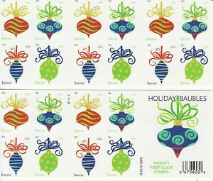 HOLIDAY BAUBLES STAMP BOOKLET -- USA #4578b FOREVER