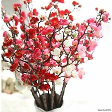 Artificial Cherry Plum Blossom Silk Flowers Plastic Sakura Tree Home Table Decor