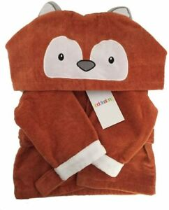Baby Kids Toddler Hooded Baby Towel Bath Robe, Dressing Gown Fox,100% Cotton