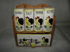 Vintage Ceramic Decorative Rooster Spice Rack w/Drawer Made in Japan