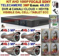 KIT 1080P VIDEOSORVEGLIANZA AHD 4 TELECAMERE 3MP 6mm SONY+DVR+CAVETTERIA+HD 1TB