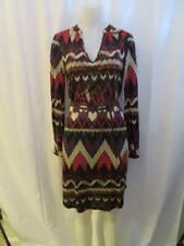 WOMENS VELVET BLACK,CREAM,RED,BROWN,PURPLE DESIGNED DRESS W/WAIST TIE SIZE M
