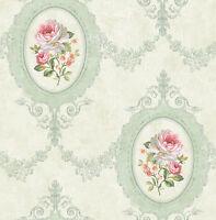 Tapete, Designtapete, Floral, Landhaus, Schimmer, Lindgrün, Medaillon, edel