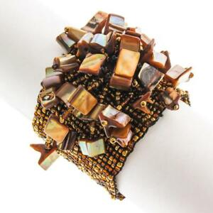 """2"""" WIDE MOTHER OF PEARL CHIPS COPPER BRONZE HANDMADE SEED BEADS bracelet"""
