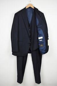 SUITSUPPLY LAZIO Men UK 44S Pure Wool Super 110's Navy 3-Piece Suit 18455_