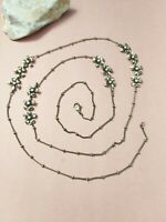 Vintage brass flowers long layering necklace 36.5""