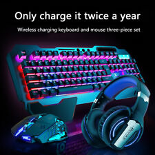 Rainbow Gaming Keyboard and Mouse Wireless Charging Set Backlit Ergonomic for PC