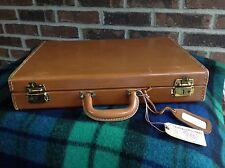 VINTAGE 1970s  HARD WOOD BOX BELTING LEATHER DEERSKIN LINED BRIEFCASE BAG R$898