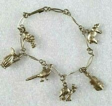Vintage White Metal Silver Tone charm bracelet with charms  Animals Violin 19cm
