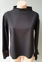 💜 ZARA Long Sleeve Mock Neck Blouse Top Black Size S Buy7=FreePost L817