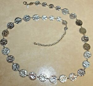 Signed Chicos Silver Toned Hammered Circle Coin Chain Belt Adjustable Vintage