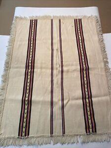 "Vintage Mexican Wool Poncho Falsa Blanket Sarape Gaban Small 41""x31"""