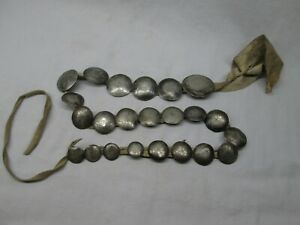UNIQUE NATIVE AMERICAN NICKLE SILVER CONCHO STYLE BELT? BRAIN TANNED LEATHER