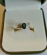 NEW.9ct EMERALD & DIAMOND 3 STONE RING.Clarity PK2 brilliant cut Diamond size N