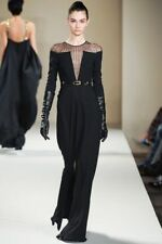 TEMPERLEY London Long Black Crystal Studded Couture Gown Dress Sz 8