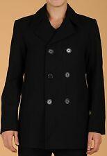 MAXXSEL New Men's Wool Blend Peacoat Double Breasted Coat/Jacket Black S-5XL