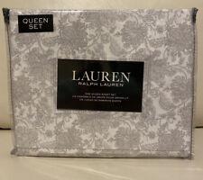 Lauren Ralph Lauren 4 PC Queen Sheet Set Floral Cotton White Gray Flowers