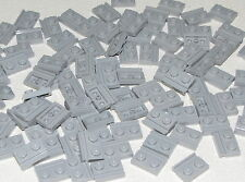 Lego Lot of 100 New Light Bluish Gray Plates Modified 1 x 2 with Door Rails