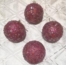 4 Palline palle sfere fucsia natale decorazioni albero di natale addobbi Natale