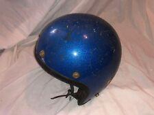 Vintage 1970's Motorcycle Helmet Open Face Blue Metalflake Old School NJ Decal