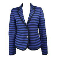 ANN TAYLOR LOFT Blue Black Striped Long Sleeve Jacket Womens Size 6