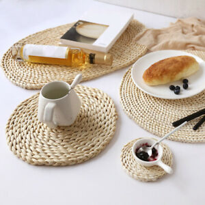 New Woven Placemats Round Water Hyacinth Weave Placemat Braided Rattan Tablemats