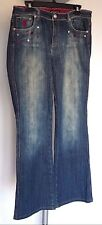 Rocawear Women's Size 13 Dark Wash Jeans Embellished Distressed