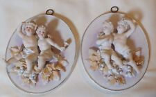 PAIR OF CHERUB WALL PLAQUES DRESDEN STYLE