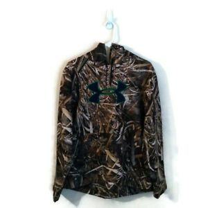 Under Armour Mossy Oak Camouflage Real Tree Max-5 Hooded Sweatshirt Sz Large