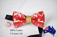 KIDS BOYS Baby 100% Cotton Xmas Christmas Elk Deer  Bow Tie Bowtie 1-6 Years Old