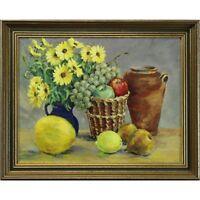Original Still Life Signed Framed Oil Painting Peggy Stradling Fruit Flowers