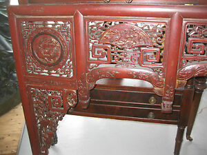 Chinese antique carved wood canope of opium or wedding  bed, Qing dynasty