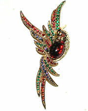 VINTAGE PHOENIX BIRD IN FLIGHT PIN MULTI COLOR CRYSTAL RED CAB BELLY B&W SPHINX
