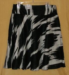 Grace Elements women's black khaki cream full flow linen skirt dress 12 P $68