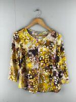 Yarra Trail Womens Yellow Viscose Round Neck Long Sleeve Tunic Top Size 10