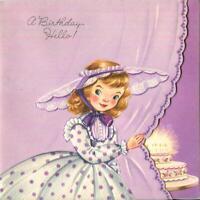 VINTAGE EMBOSSED MCM PURPLE COLORS GIRL PINK CAKE CANDLES BIRTHDAY GREETING CARD