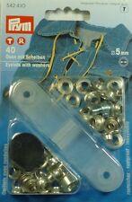 Prym 40 Ojales con Discos y Herramienta 5mm plata 542410