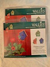 LOT OF 2 NIP Wallies Prepasted Wallpaper Cutouts 25 BIRDHOUSES 12099