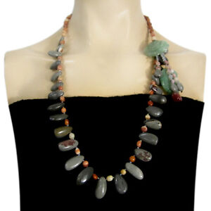Special Natural Green Aventurine & Chohua Jasper Hand-crocheted Necklace