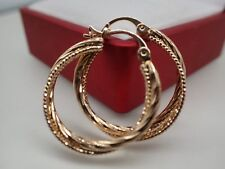 18K 18ct Yellow Gold Solid Women Girl 25mm Greece Larger Hoop Huggie Earrings