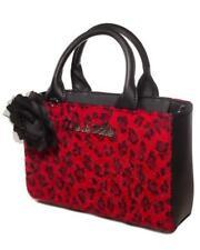 Lux de VIlle Black Dahlia Mini Red Leopard Fur Punk Tote Bag Purse BDMT484RL