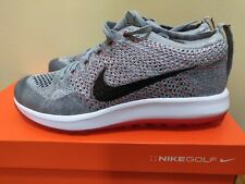 Women's Nike Flyknit Racer G Golf Shoes Wolf Grey Solar Red 909769-002 Size 10