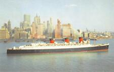 CUNARD RMS QUEEN MARY Ocean Liner Steamship ca 1940s Vintage Postcard