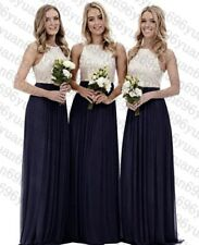 New Long Top Ivory Lace Chiffon Evening Party Ball Gown Prom Bridesmaid Dresses