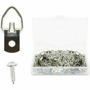 100 D Ring Picture Hangers with 100 Screws, 1 Hole (3/16 x 5/8 in, 200 Pieces)