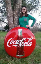 "36"" Vintage Coca-Cola Sign 1950's Porcelain Button Great Collector's Coke Sign!"